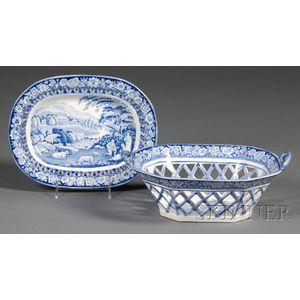 Blue and White Transfer-decorated Staffordshire Pottery Fruit Basket and Undertray