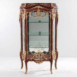 Pair of Louis XV-style Mahogany-veneered and Gilt-metal-mounted Floor Vitrines