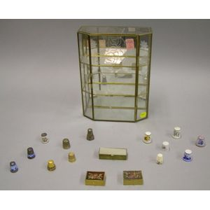 Collection of Thimbles and Three Small Boxes with a Display Cabinet