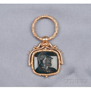 Antique 14kt Gold and Bloodstone Intaglio Fob