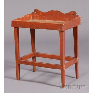 Small Red-painted Pine Side Table