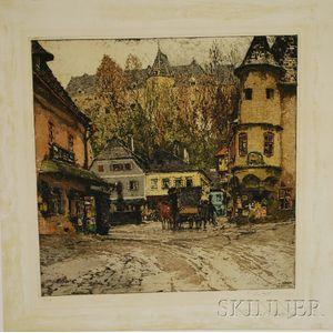 Luigi Kasimir (Austrian, 1881-1962)      European Village Scene