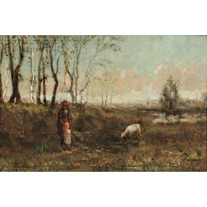 Clement Rollins Grant (American, 1848-1893)      Shepherdess with a Young Girl and Lamb