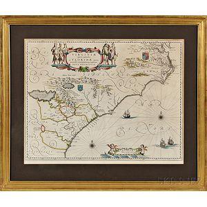 Virginia and Florida. Willem Janszoon Blaeu (1571-1638) Virginiae Partis Australis, et Floridae partis orientalis, interjacentiumq[ue]