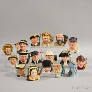 Seventeen Small Royal Doulton Ceramic Character Jugs