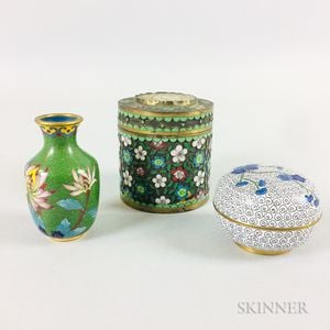 Two Small Cloisonne Boxes and a Vase