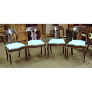 Set of Empire Mahogany and Mahogany Veneer Side Chairs with Upholstered Slip Seats.