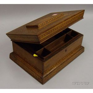 Parquetry and Walnut Jewelry/Sewing Box