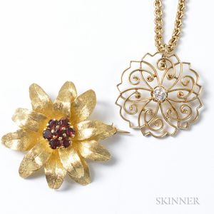 14kt Gold and Diamond Pendant and Chain and a 14kt Gold and Garnet Floral Brooch