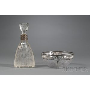 Two Silver-mounted Colorless Etched Glass Tablewares