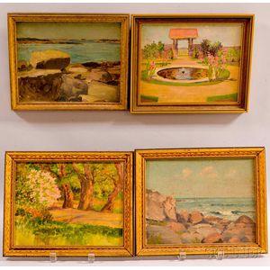 Alice Preble Tucker De Haas (American, 1859-1920)      Four Framed Landscapes: Two Views of York Beach, Garden with Fountain