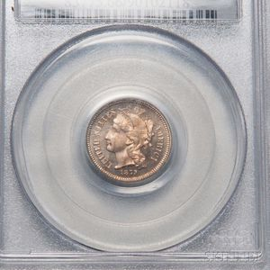 1879 Three Cent Nickel Trime, PCGS PR66CAM CAC.     Estimate $600-800