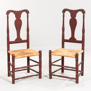 Pair of Red-painted Vase-back Chairs