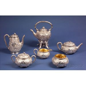 J.E. Caldwell & Co. Sterling Repousse Six Piece Tea and Coffee Service