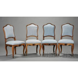 Set of Four Italian Rococo Fruitwood Side Chairs