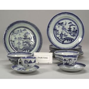 Forty-one Assorted Canton Porcelain Tableware Items