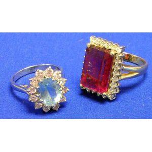 Two Gemstone and Diamond Rings