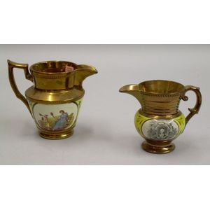 English Copper Lustre and Transfer Cornwallis/Lafayette Jug and a Mother and Child Jug.