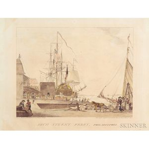 """Drawn, Engraved, & Published by William Birch & Son,"" (Philadelphia)      Arch Street Ferry, Philadelphia."