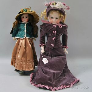 Two Bisque Head Closed Mouth Kestner Dolls