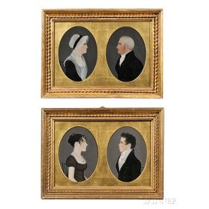 Attributed to Mr. Boyd (possibly Harrisburg, Pennsylvania, area, early 19th century), Four Miniature Profile Portraits, Reportedly of