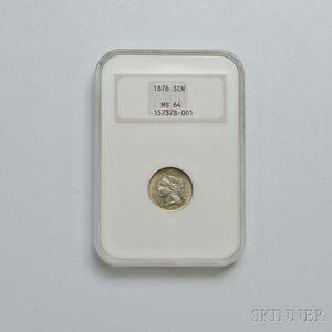 1876 Three Cent Nickel Trime, NGC MS64.     Estimate $300-500