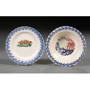 Portneuf Pottery Stick Spatter Decorated Bowl and Plate