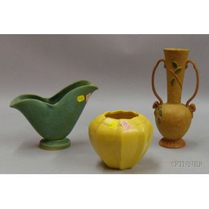 Two Pieces of Weller Pottery and a Yellow Vase
