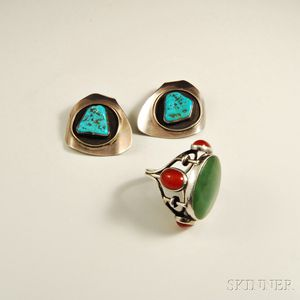 H. Fred Skaggs Sterling Silver Ring and Earclips