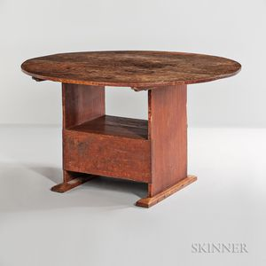 Circular Red-painted Pine and Maple Hutch Table