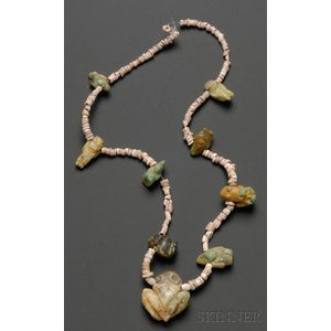 Pre-Columbian Coral and Emerald Necklace