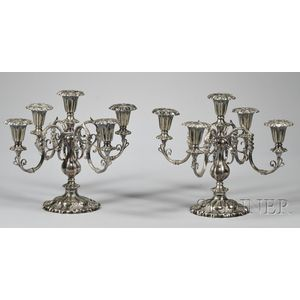 Pair of Gorham Silver-plated Five-light Candelabra