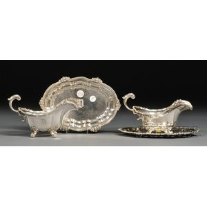 Pair of Black, Starr and Frost Sterling Sauce Boats and Underplates