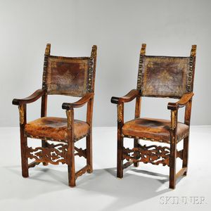 Pair of Spanish Walnut and Parcel-gilt Leather Armchairs