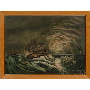 American School, 19th Century      Storm-tossed Frigate at Sea with Storm Clouds Clearing.