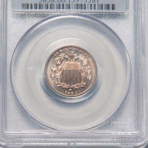 1883 Five Cent Shield Nickel, PCGS PR66 CAC.     Estimate $500-700