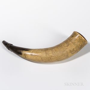 Folk Carved Powder Horn