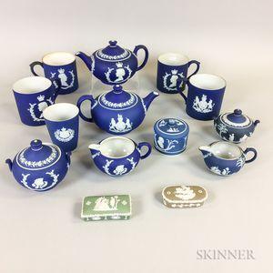 Fourteen Wedgwood Blue Jasper Items