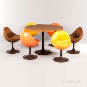 """Six Johanson Design for Markaryd """"Venus"""" Chairs and an Octagonal Table with Tulip Base"""