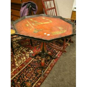 Georgian-style Japanned Red Lacquer Octagonal Tilt-top Tea Table.