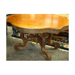 Victorian Walnut and Mahogany Veneer Turtle-top Low Occasional Table.