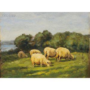 Carleton Wiggins (American, 1848-1932)      Grazing Sheep, Old Lyme, Connecticut