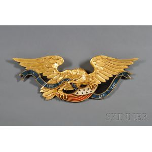 Carved, Gilded, and Painted Wooden Federal Eagle Wall Plaque
