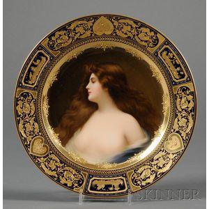 """Vienna Porcelain """"Erbluht"""" Portrait Plate"""