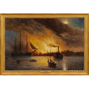 James Gale Tyler (1855-1931)      The Conflagration From New York Harbor