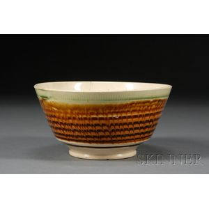 Mochaware Bowl with Combed Slip Decoration