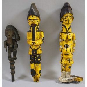 Yoruba Carved Wooden Staff and a Pair of Painted Ibo Figures