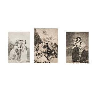 Francisco José de Goya y Lucientes (Spanish, 1746-1828)      Three Plates   from LOS CAPRICHOS