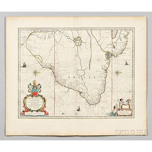 South and Central America. Johannes & Willem Blaeu. Maps of Brazil, Mexico, the Straits of Magellan, and Peru.