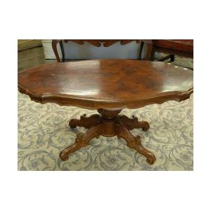 Victorian Mahogany and Rosewood Veneer Turtle-top Low Occasional Table.